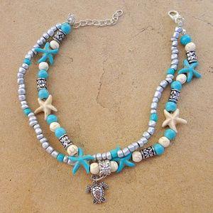 Jewelry - Starfish Sea Turtle Boho Beach Adjustable Anklet